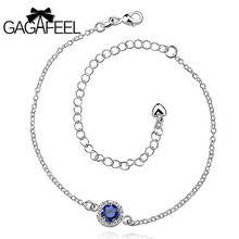 GAGAFEEL  Women Leg Bracelets Foot Chains Feet Bangles Jewelry silver Round Gem Crystal Zircon Wedding Colorful Anklets