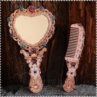 Européenne rétro en forme de coeur pliable avec miroir cadre de la vanité miroir miroir à main maquillage miroirs pour fille cadeau J034