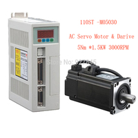 1 set 110ST M05030 AC SERVO MOTOR 5.0N.M 1.5KW WITH DRIVER AND CABLE 50/60HZ 220V motor