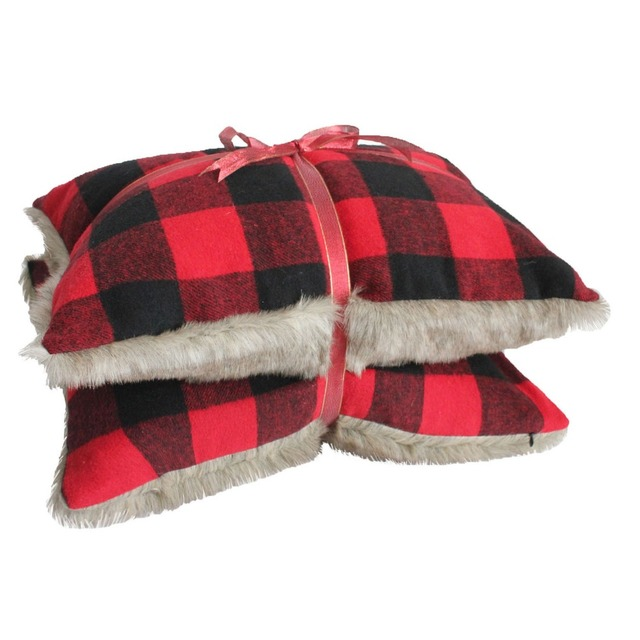 Set Of 2 Pcs Buffalo Check Cushion With Faux Fur Backing Throw Pillow Case Home Decor