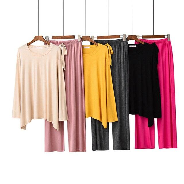 2019 ฤดูใบไม้ผลิและฤดูใบไม้ร่วงชุดนอนสีทึบผู้หญิงสบายหลวมชุดนอน 2 ชิ้นชุดแขนยาว + กางเกงรอบคอ Homewear ชุด