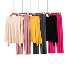 Conjunto de pijamas femininos, conjunto de pijamas para mulheres, cores sólidas, confortável, solto, 2 peças, manga comprida + calça, redonda, 2019 conjunto de roupa de casa pescoço