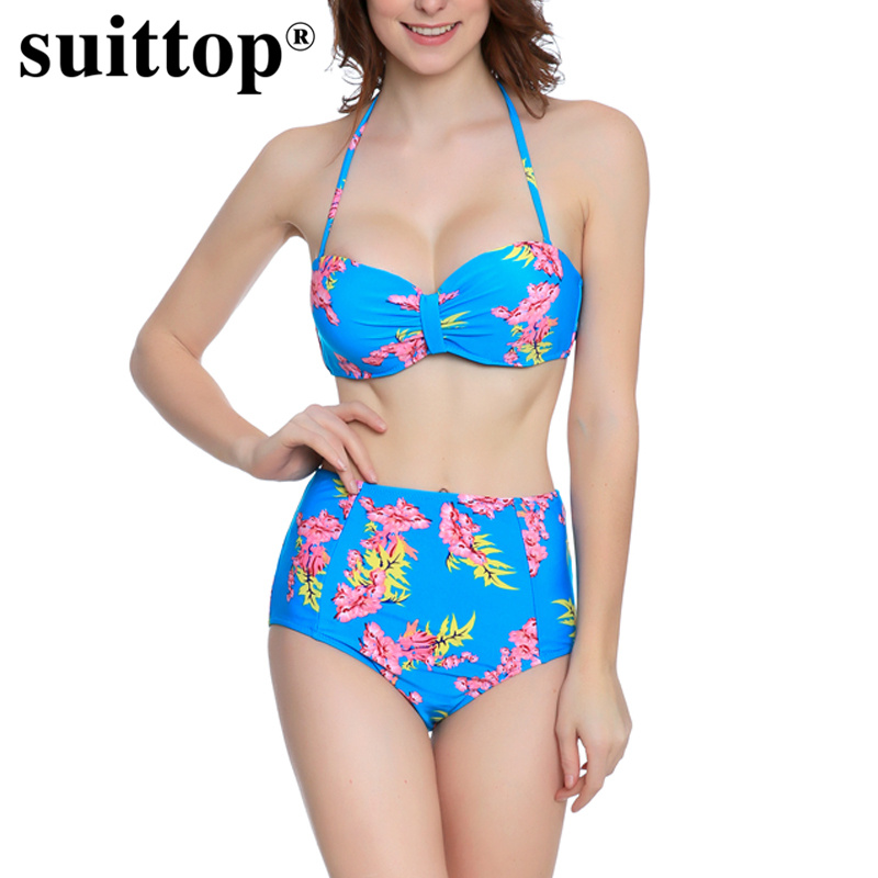 suittop New Women Swimwear Printed Floral High Waist Bikini Set Bathing Suits 2017 Sexy Push Up Halter Swimsuit Femme Biquinis 2017 new cross straps bikini sexy high waist swimwear women print floral swimsuit bottoms beach bathing suit women bikini set