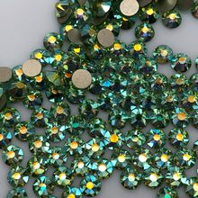 1440pcs/720pcs Packing New Faced (8 big + 8 small) ss20 (4.8-5.0mm) Peridot AB color Nail Art Glue On No hotfix Rhinestone(China)