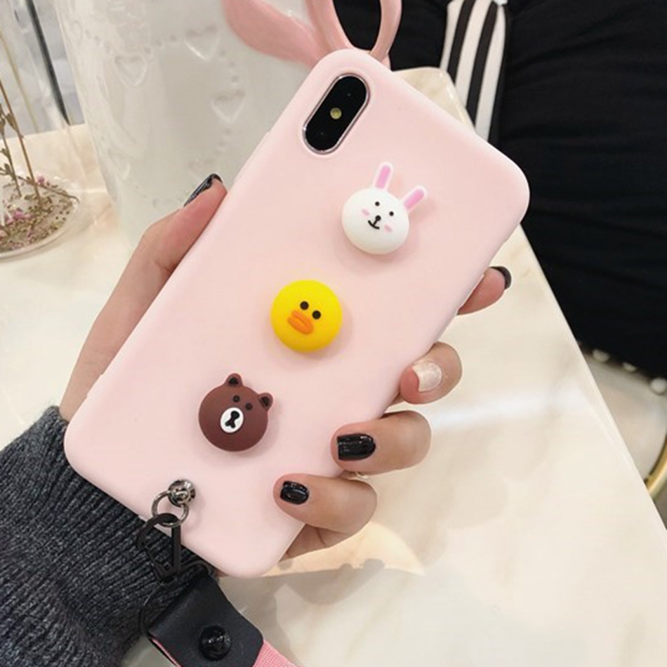 Cartoon Bear Brown Bunny Cony Case For OPPO A5/A3S A73 Youth F5 F3 Cute Lanyard Cover For OPPO F9 F7 Realme 1 2 Kawaii Soft Case