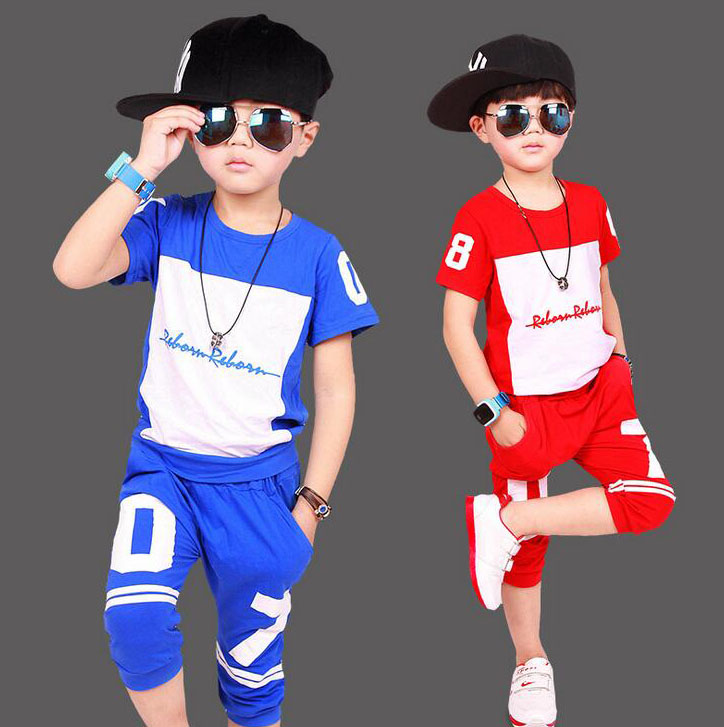 2017 Summer Boys Clothes Fashion Cotton t-shirt + Haren shorts 2pcs Suit hip hop Costume clothing sets for 4 6 8 10 12 14 Years