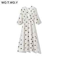 WOTWOY Dot Print Sexy Boho Dresses Women V neck Elastic Waist Lining Split Half Sleeve Mid calf Dress Beach Loose Vestidos