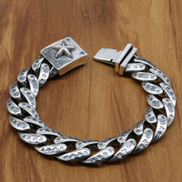 S925 Sterling Silver Punk Style Retro Thai Silver Bracelet Homme Rough Section Chain Buckle Wholesale Men And Women