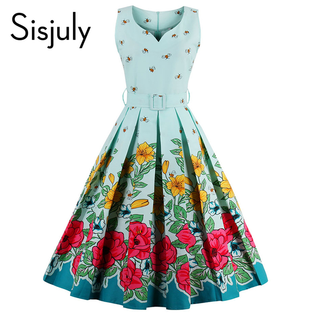 Sisjuly 2017 floral bee print vintage dresses style 1950s cute party dress with sashes summer dress  sleeveless vintage dresses