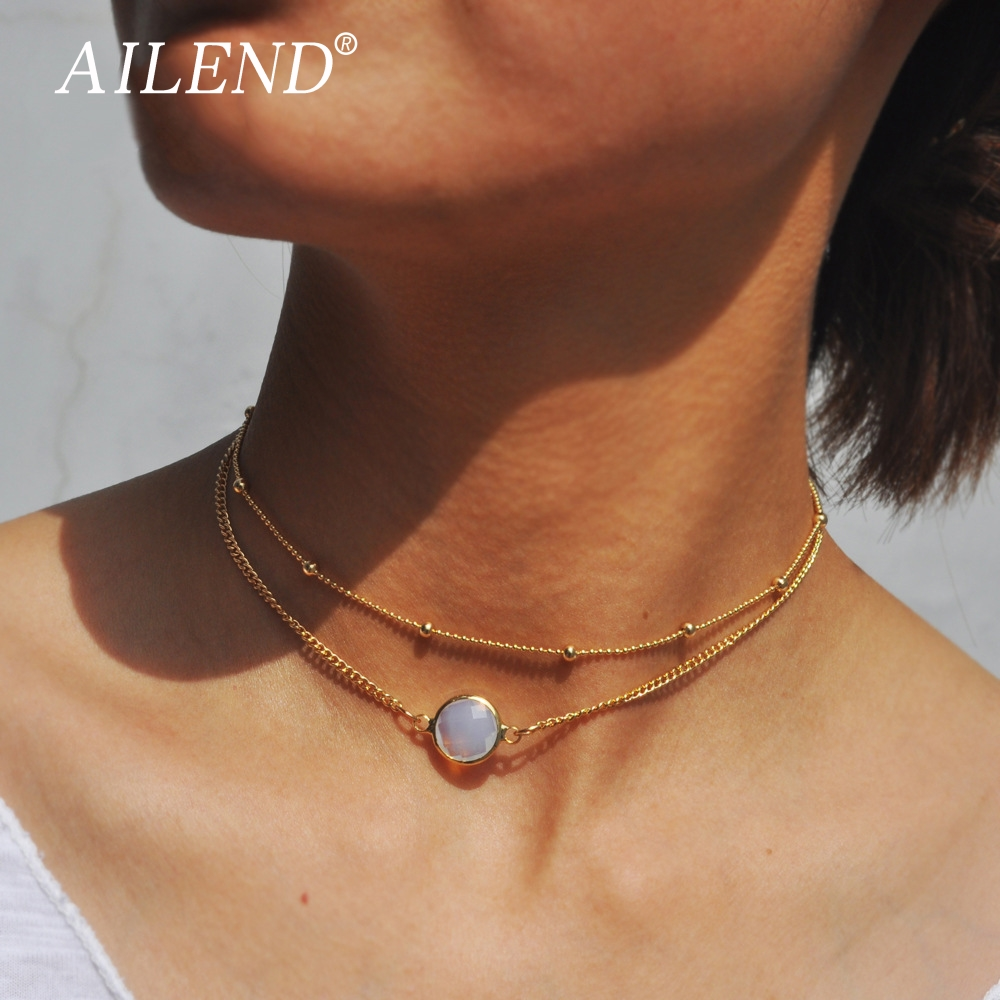 Boho Round Opal Pendant Necklace Female Zinc Alloy Cable Chain Double Short Necklace Round Beads Chain Jewelry Jewelry