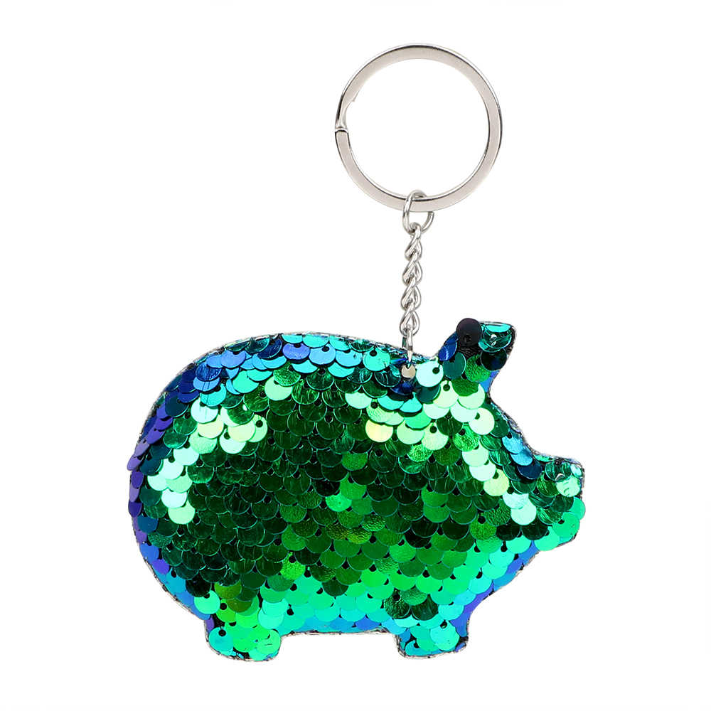 Interior Accessories Pig Keychain Glitter Sequins Key Chain Colorful Bling Gifts For Friend Cute Key Ring