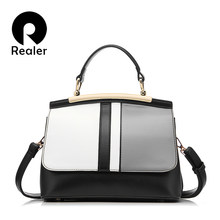 Realer handbag women casual tote bag brand design female solid boston bag small shoulder messenger bags chain clutch purse(China)