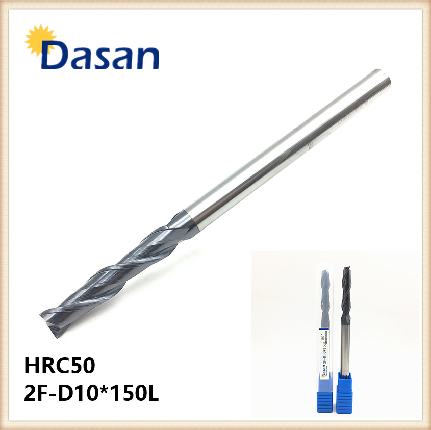 Flat End Mill HRC50 2F-D10*150L 10mm 2Flute Solid Carbide Spiral  Extral Long Milling Cutter for CNC Machine Milling Tool
