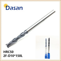 Flat End Mill HRC50 2F D10 150L 10mm 2Flute Solid Carbide Spiral Extral Long Milling Cutter