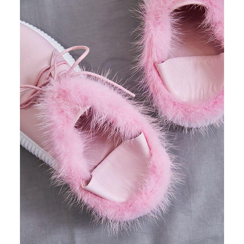 Plush black Femmes Dentelle Plate Automne De Plat Hiver With Lapin Véritable Sneakers Fourrure pink Black En Plush Plush Date Kcenid Cuir Chaussures No Robe Femme Up Rose Casual forme A8wqFz