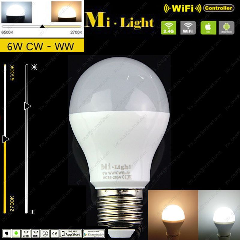 2.4G Mi.light  E27 6W Color Temperature Adjustable Dual White(CW/WW) CCT LED Bulb Wifi Compatible for Android/iOS AC85-265V купить