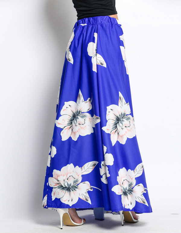 17b1c65758 Elegant Fancy Flower Print Long Skirt Women Fashion Elastic Waist long Big  Swing Floral Chiffon Maxi Skirts w-in Skirts from Women's Clothing on ...