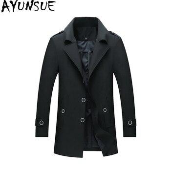AYUNSUE Men's Windbreakers Plus Size Trench Coat Men Korean Windbreaker Man Coats Mostly Male Overcoat Casaco Masculino KJ236