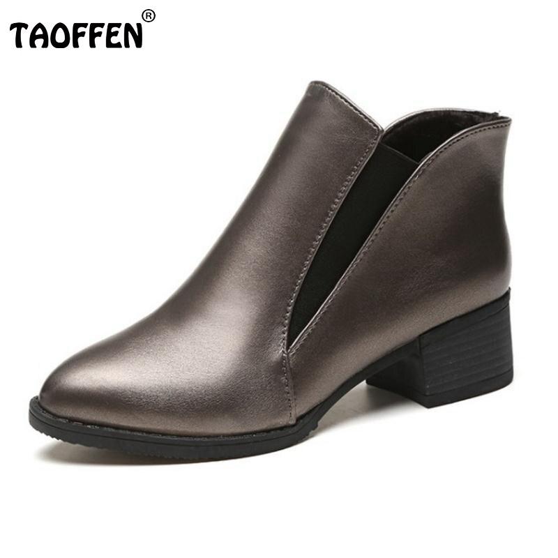 TAOFFEN  Winter Shoes Women Thick Fur Ankle Snow Boots For Women Warm Plush Flat Botas Women Warm Plush Footwear Size 35-40