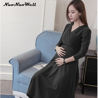 Breastfeeding Pregnant Dresses 2017 New Fashion Maternity Dress Autumn Women Sweater Dress Pregnant Women Skirt Elegant Clothing