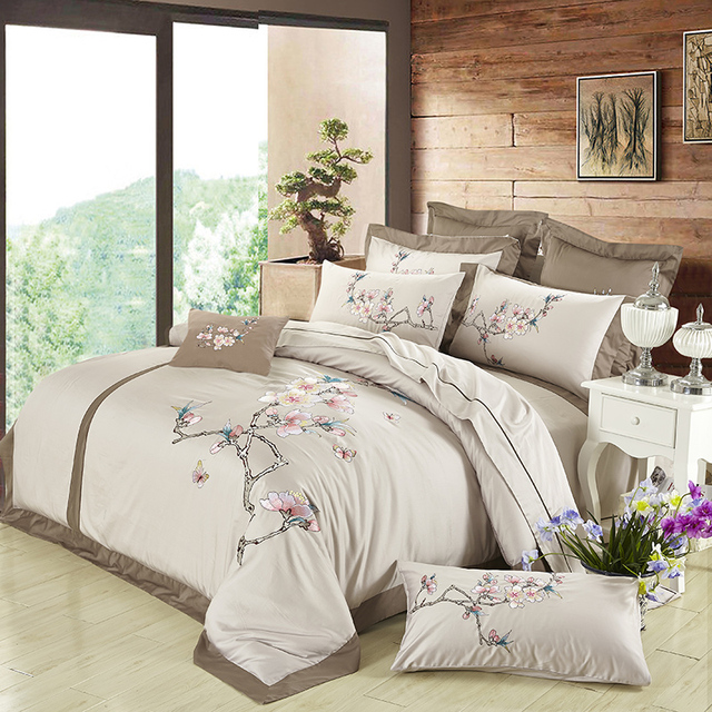 100% Egypt Cotton Silky Luxury Royal Bedding set Queen/King Size Embroidery Korean Bed set Duvet cover Bed linen Pillowcases