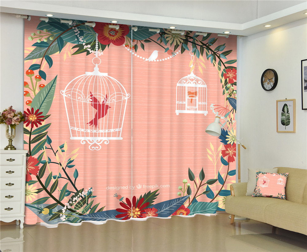 Curtains birdcages Luxury Blackout 3D Window  Curtains For Living Room kids Bedroom Drapes cortinas Rideaux Customized sizeCurtains birdcages Luxury Blackout 3D Window  Curtains For Living Room kids Bedroom Drapes cortinas Rideaux Customized size