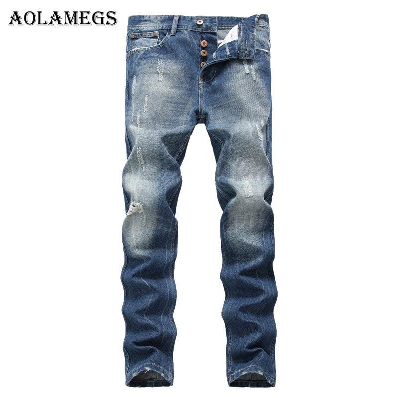 Aolamegs Men Jeans Pants Button Fly Closure Hole Solid Motorcycle Full Length Trouser Summer Splice Denim Fashion Straight Light