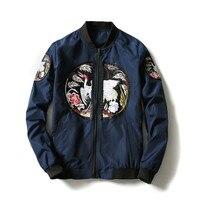 New Men Luxury Embroidery Bomber Jacket Coat Fashion Vintage Japan Style Jacket Man Hip Hop Streetwear Outerwear Plus Size 5XL