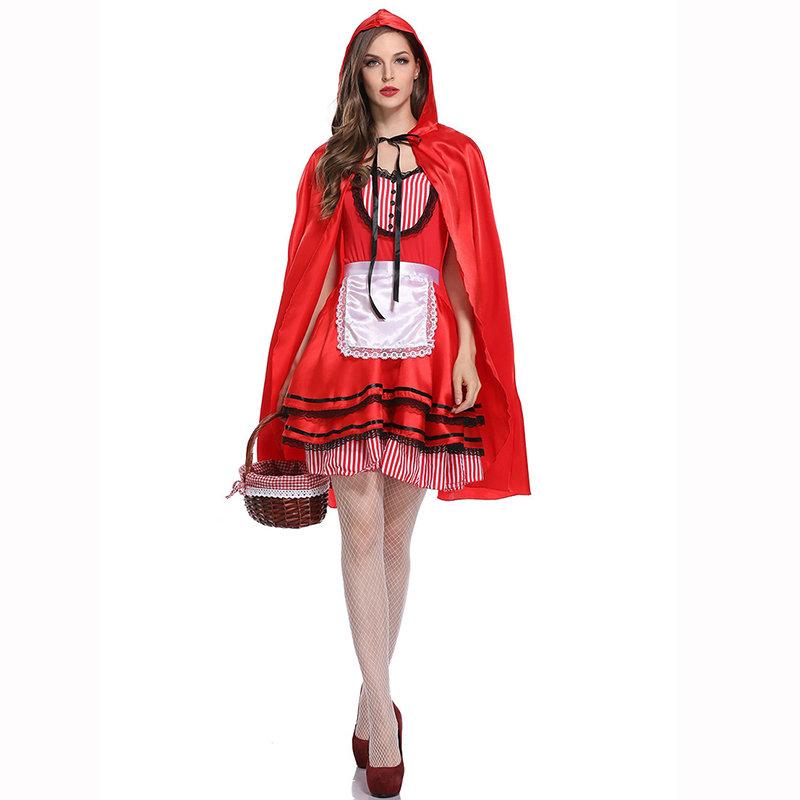 A Fairy Fale Adult Little Red Riding Hood Costume Women Cosplay Sexy Role Playing -5613