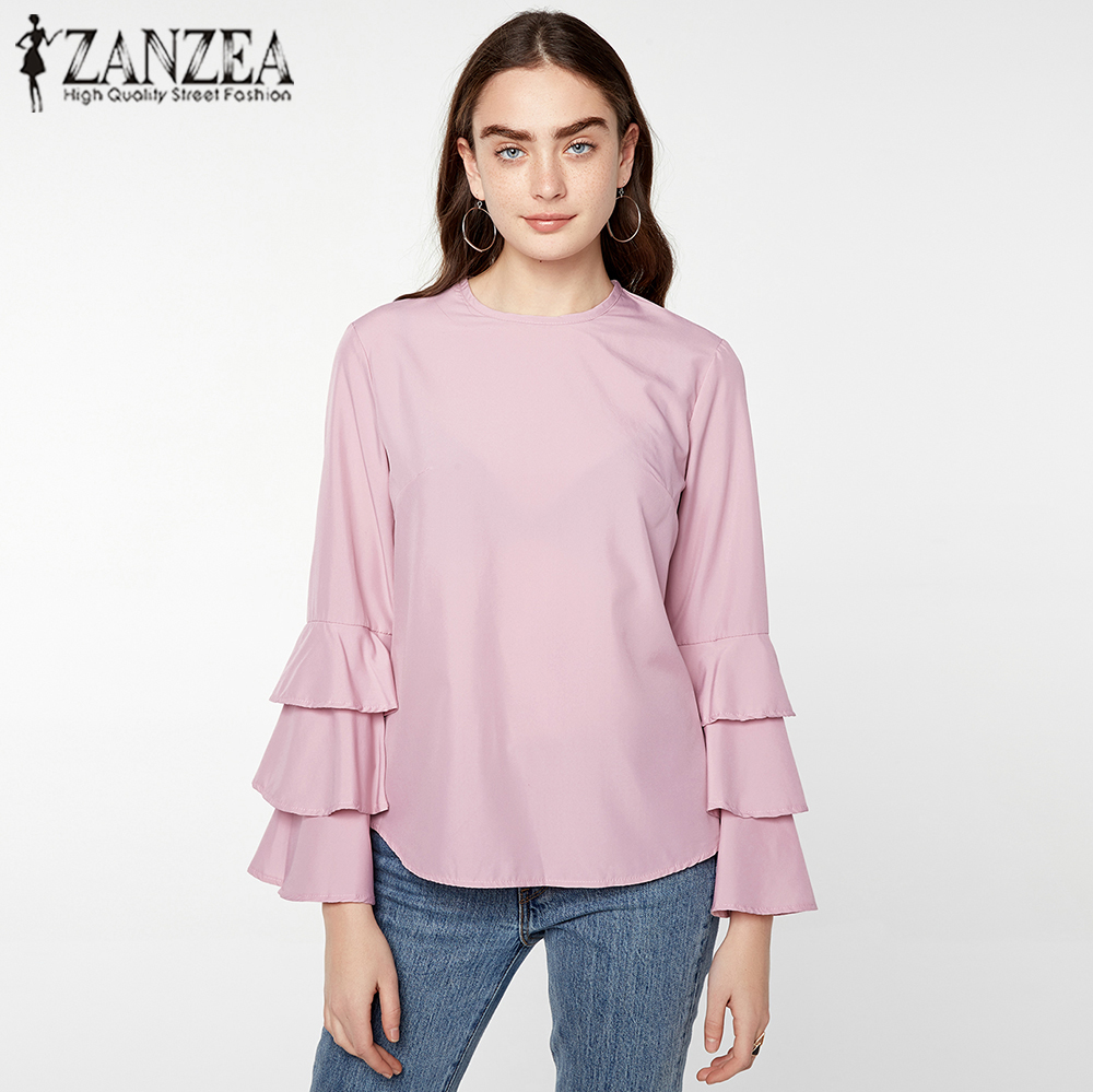 ZANZEA 6 Colors 2018 Women Blouses Shirt Elegant Ladies O Neck Long Flare Sleeve Flouncing Blusas Casual Loose Pullover Tops