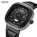 Megir mens pulseira de couro preto dial square relógios de quartzo da forma relógio de pulso com data do calendário para o homem orange azul 2027