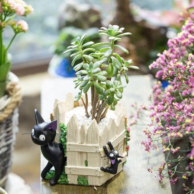 Cute Creative Cartoon Black Cat White Fence Resin Succulent Flower Pot Tapletop Cacti Plant Displany Flowerpot & Cute Creative Cartoon Black Cat White Fence Resin Succulent Flower ...