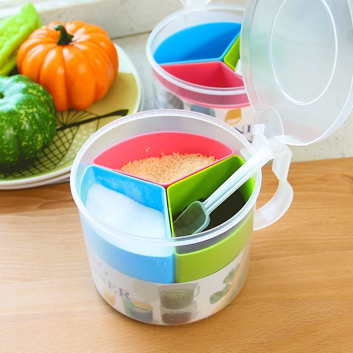 Round multi-Grids seasoning Pot Kitchen Sugar Salt Pepper Removable Plastic Spice Containers