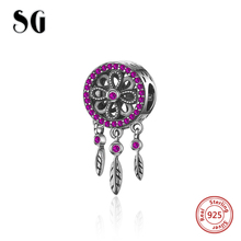 New Arrivals Dream catcher Beads with pink CZ 925 Sterling Silver Fit pandora pandora bracelets Jewelry making for women gifts sg new arrival 925 sterling silver charms dream catcher beads with cz fit pandora bracelets diy jewelry making for women gifts