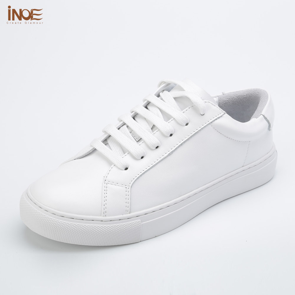 INOE 2017 fashion style real genuine cow leather women spring lace up wedding shoes summer white flats rubber sole high quality new original transformation 5 robot toy deformation car robot action figures toys brinquedos children toys gifts