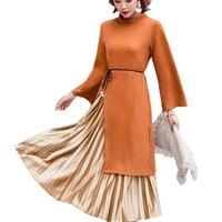 Fashion Trend Velvet Women Dress Vintage Dress Autumn Winter Keep Warm Vestidos Two piece Suit Pleated Dress Vestidos mujer