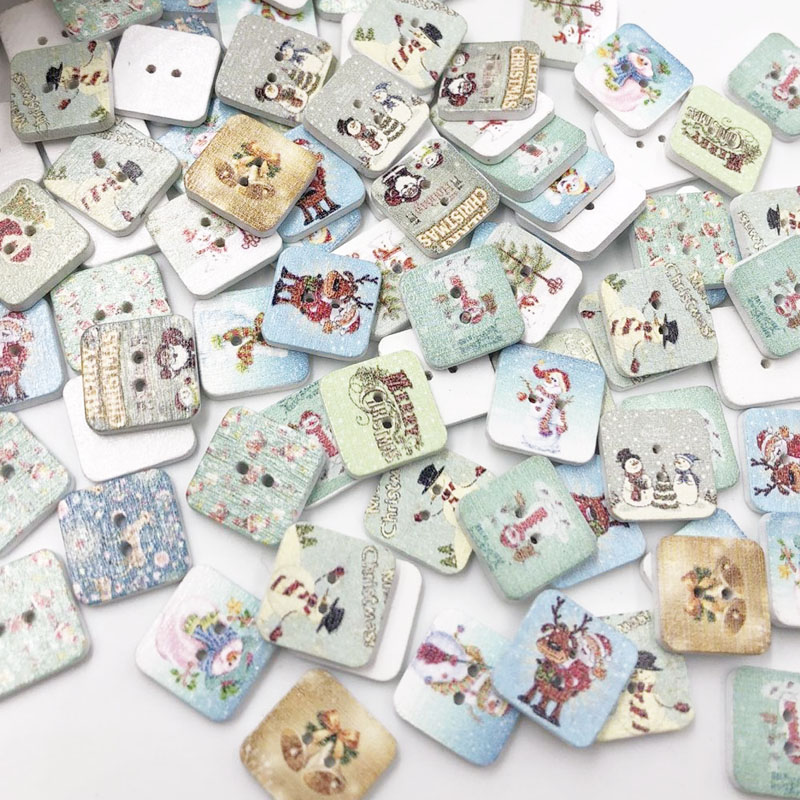 10/<font><b>50</b></font>/100pcs Mixed Christmas painted Square Wooden Buttons For Sewing Scrapbooking Crafts 15mm 2 Holes WB04 image