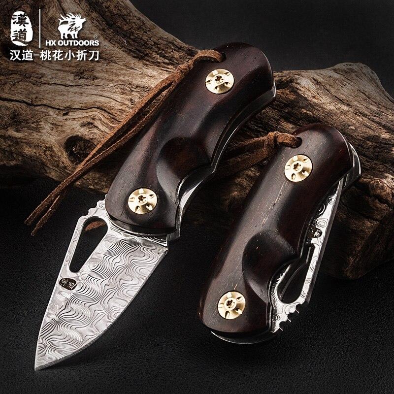 HX extérieur DM-008 couteau pliant damas, couteau EDC de poche, couteau pliant cadeau de haute qualité