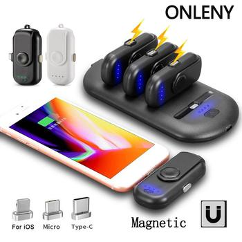 Magnetic Wireless Mini Finger Charger Power Bank with Charging Station Easy to Carry for iPhone for Android for Type-C Phones