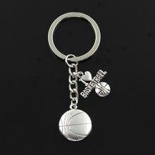 Fashion 30Mm Sleutelhanger Sleutelhanger Sieraden Zilveren Kleur Ik Liefde Basketbal Hanger