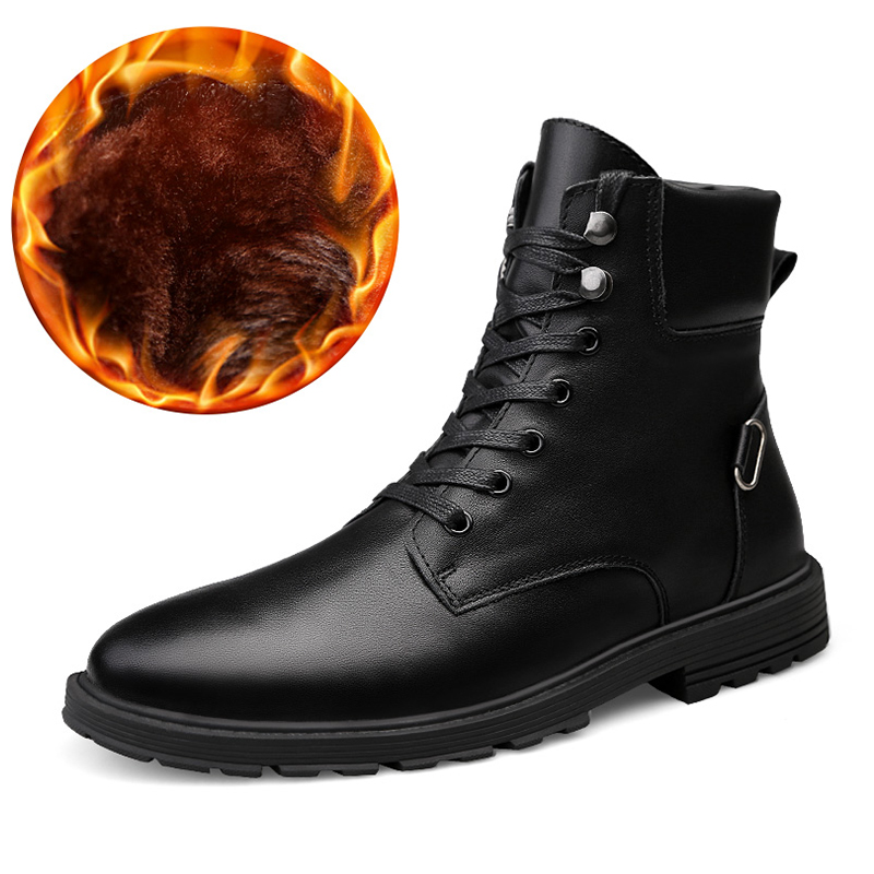 Men High Top Boots Round Toe Lace Up Ankle Boots Black 2018 Winter Short Plush Hard Wearing Boots Warm Men's Fashion Trend popular men martin boots winter with fur flat high top hot round toe lace up boots hard wearing warm 2018 cotton boots for male
