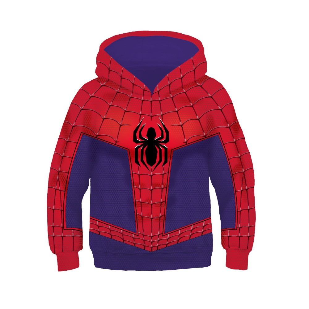 Kids Spider-Man Into the Spider-Verse Peter Parker Cosplay Costume 3D Printed Hoodies Spiderman Pullover Sweatshirts