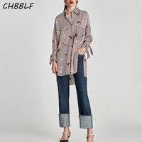 New Spring 2017 European Bird Print Tops Casual Loose Ladies Shirt Fashion Striped Blouse XDZ1323