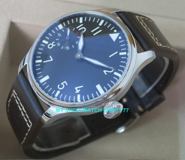 2016 nowych moda 44mm PARNIS pilot 6497 mechaniczna ręka wiatr ruch zegarek męski hurtownie x0001 w Zegarki mechaniczne od Zegarki na  Grupa 1