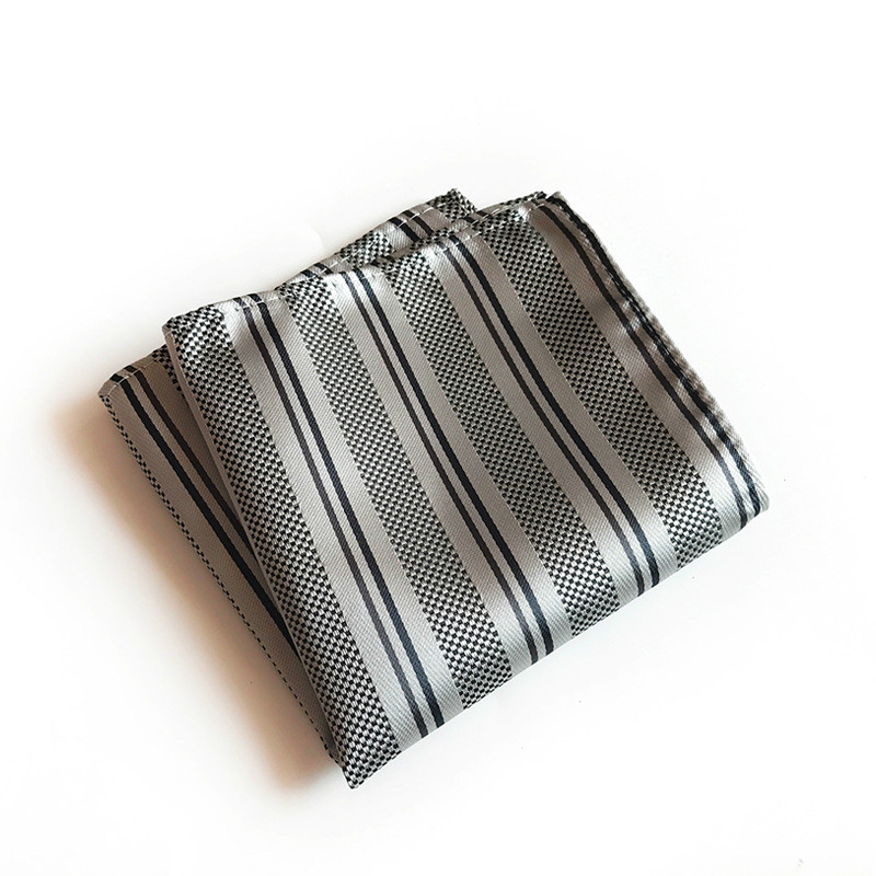 25x25cm Polyester Pocket Towel Monochrome Stripe Business Suit Square Scarf