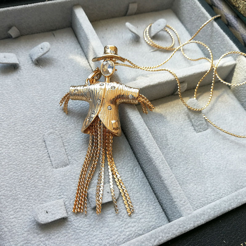 Vanssey Vintage Fashion Scarecrow Figure Rhinestone Gold Tone Snake Chain Long Tassel Necklace Accessories For Women