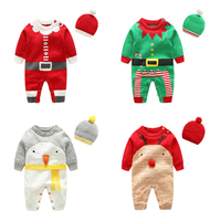 Christmas Gift Winter Baby Rompers Cotton Wool Sweater Set Jumpsuit Newborn Boys Girls Outerwear Costume Coat