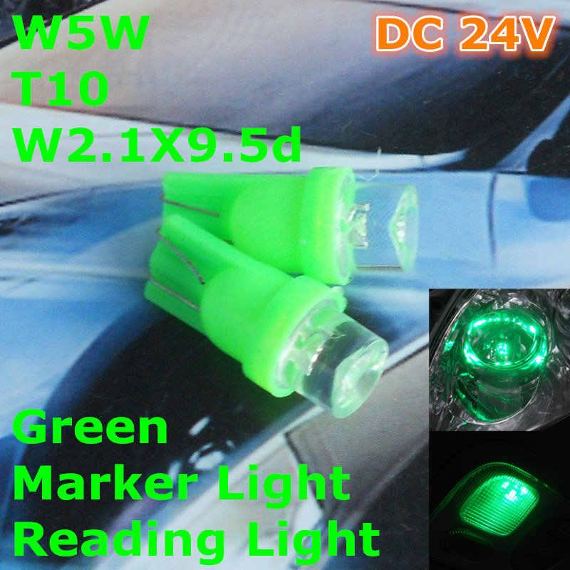 24 V LED Grün Farbe Auto T10 (10mm Flutlampe) W5W, 5d für Tür Stamm Boot Lizenz Leselicht