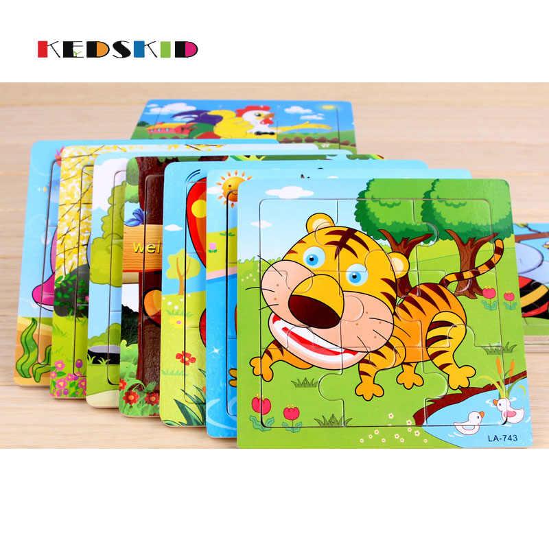 Деревянные 3D головоломки деревянные игрушки для детей мультфильм головоломки Пазлы интеллект дети Монтессори развивающие игрушки