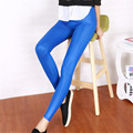 1PCS Autumn Solid candy colour Women thin High leather Leggings pencil ninth pants light Leather Pants #1638